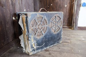 Box of a suitcase with old speakers. Ancient audio system