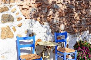 Street cafe in Malia old town, Greece.