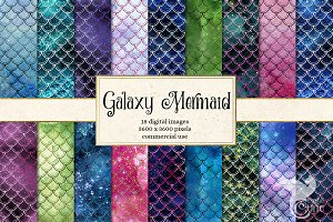 Galaxy Mermaid Digital Paper