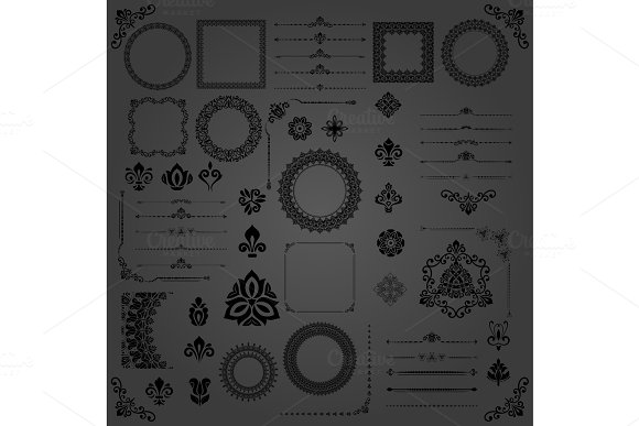 Vintage Set of Vector Horizontal, Square and Round Elements