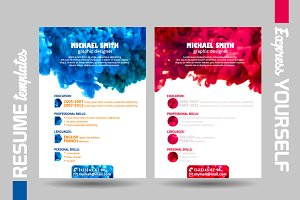 Resume templates with swirling water