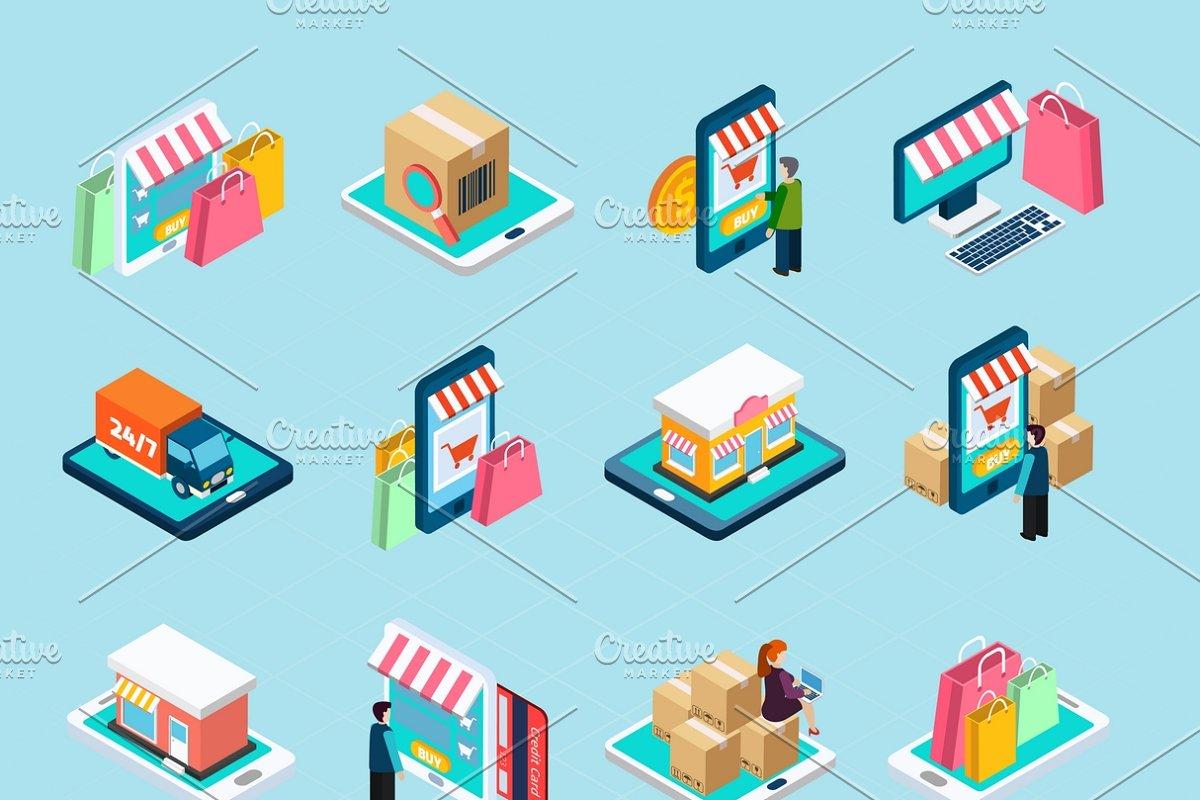 Mobile shopping isometric icons set