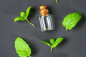Fresh homemade green peppermint and butter in a glass small bottle on a gray dark concrete table. top view