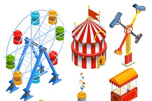 Amusement park isometric icons set