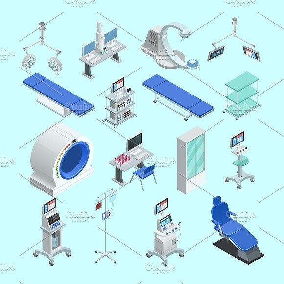 Medical equipment isometric icons