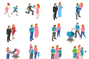 Family relations isometric icons set