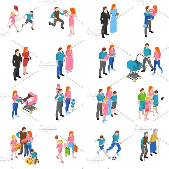 Family relations isometric icons set