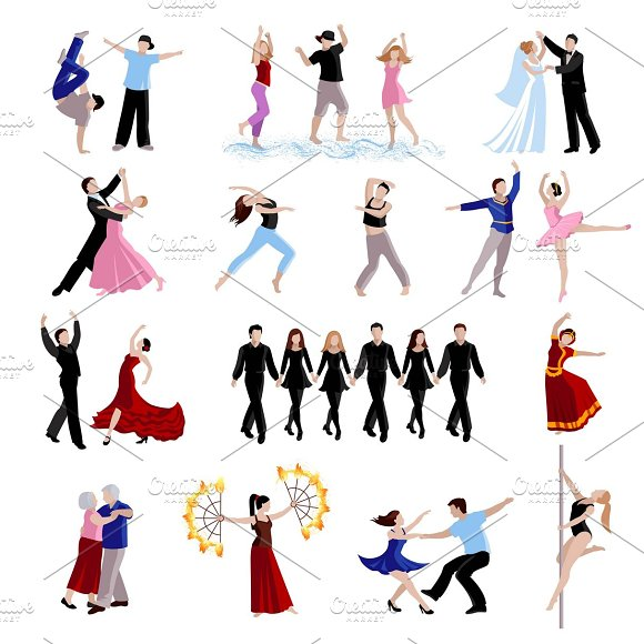 Dancing people flat icons set