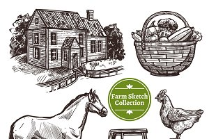 Farm hand drawn sketch set
