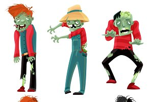 Zombie monsters cartoon characters