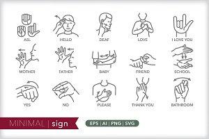 Minimal sign icons