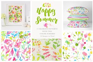 Happy Summer Seamless Patterns