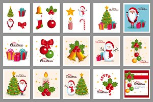 30 Christmas Cards Vector Collection