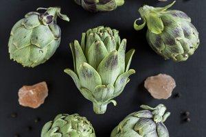 artichoke flat lay