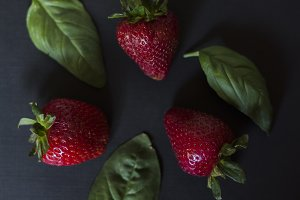 strawberries with basil & peppercorn