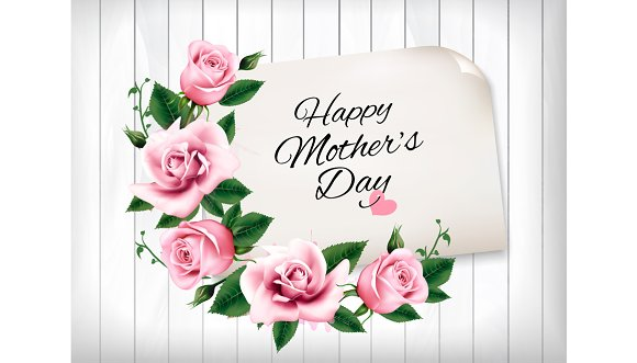 Pink roses and wooden sign. Vector.