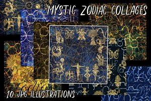 Mystic zodiac collages