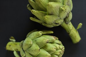 artichokes dark background