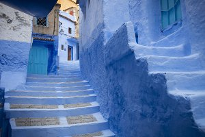 Blue City street scene in Morocco