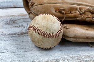 Vintage Baseball and Mitt