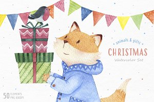 Christmas watercolor animals & gifts