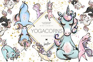 Yoga Unicorns Clipart. Yogacorns