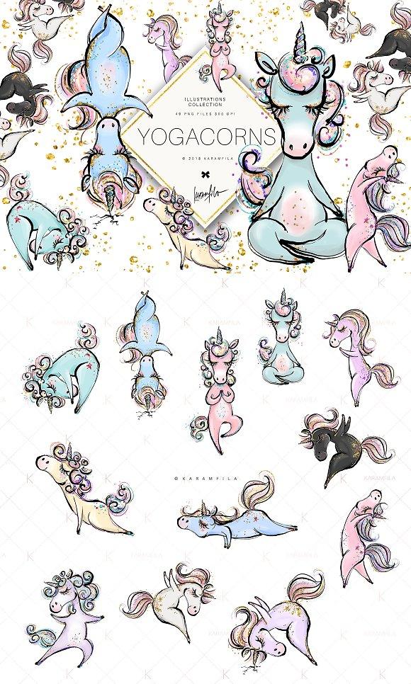Yoga Unicorns Clipart. Yogacorns in Illustrations