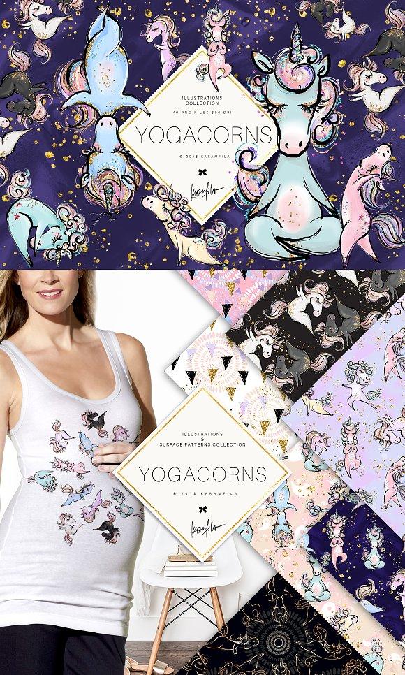 Yoga Unicorns Clipart. Yogacorns in Illustrations - product preview 1