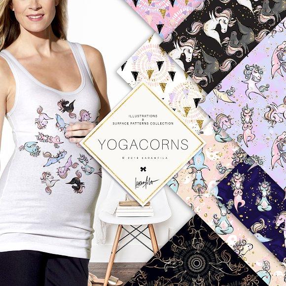 Yoga Unicorns Clipart. Yogacorns in Illustrations - product preview 2