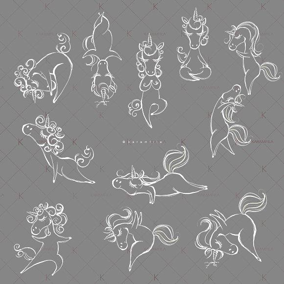Yoga Unicorns Clipart. Yogacorns in Illustrations - product preview 5