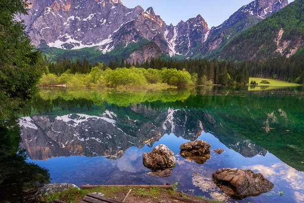 Nature Stock Photos: Dreamy Pixel - Mangart lake at sunset