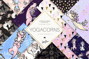 Yoga Unicorns Patterns