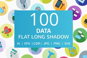 100 Data Flat Long Shadow Icons