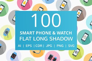 100 Smartphone & Watch Flat Icons