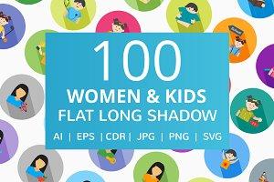 100 Women & Kids Flat Icons