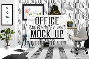 Office Rug, Wall & Frames Mock Up