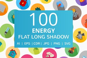 100 Energy Flat Long Shadow Icons