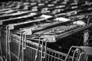 Shopping cart in department store