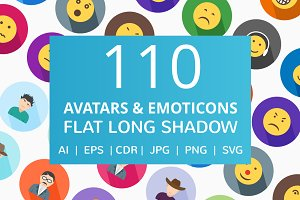 110 Avatars & Emoticons Flat Icons