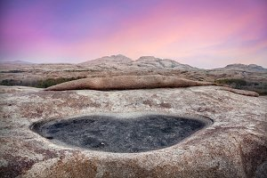 Pink sunrise in the rocky desert