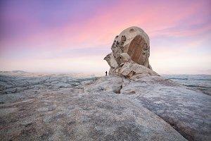 Pink sunrise and amazing desert land