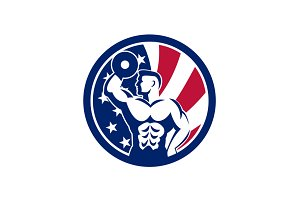 American Fitness Gym USA Flag Icon