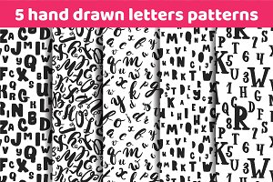 Alphabet letters seamless patterns