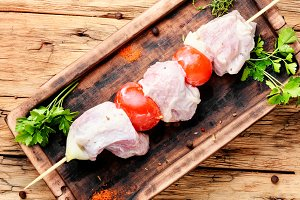 Marinated pork kebab on stick