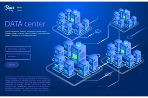 Data center design concept. Isometric vector illustration.