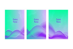 Data flow posters. Set of abstract backgrounds.