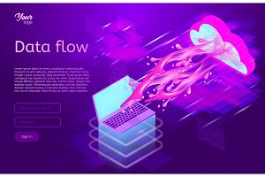Data flow design concept. Isometric vector illustration.
