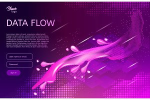 Abstract and creative concept of data flow. Isometric vector illustration.