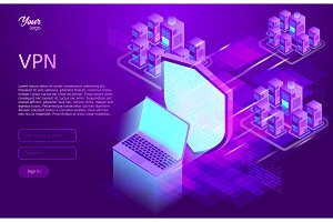 Secure vpn concept. Isometric vector illustration of virtual private network service.