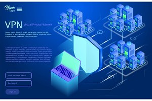 Secure virtual private network concept. Isometric vector illustration of vpn service.